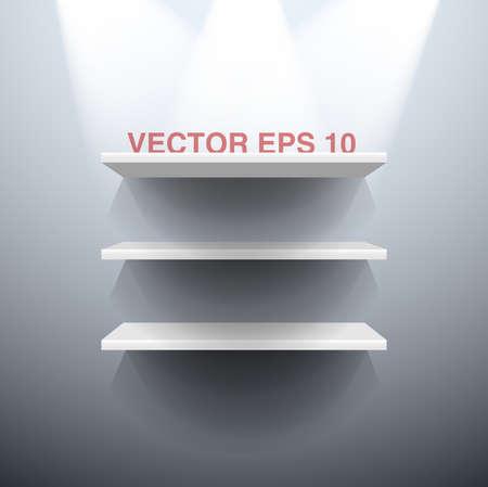 Three white vector shelves illuminated by spots lights Illustration