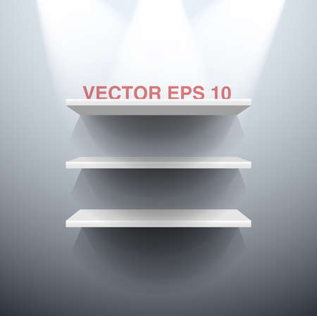Three white vector shelves illuminated by spots lights Illustration
