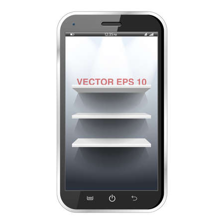 Three white shelves in a realistic black smartphone Vector