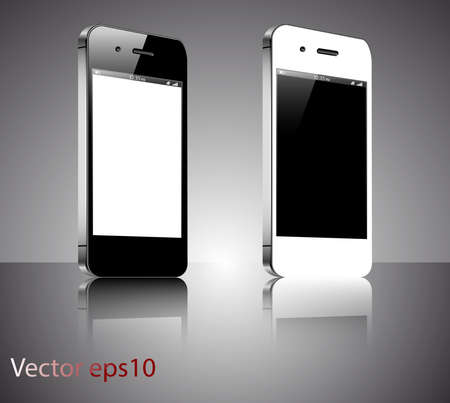 A black and a white realistic vector smartphones isolated on a grey background Stock Vector - 19420327