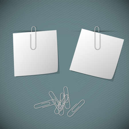 Two white post it with clips on a green background Vector
