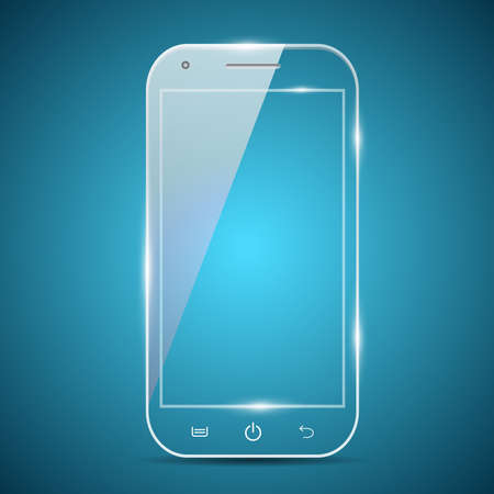 A futuristic glass transparent vector smartphone
