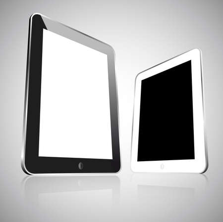 Two realistic empty vector black and white tablets isolated  Stock Vector - 19420335
