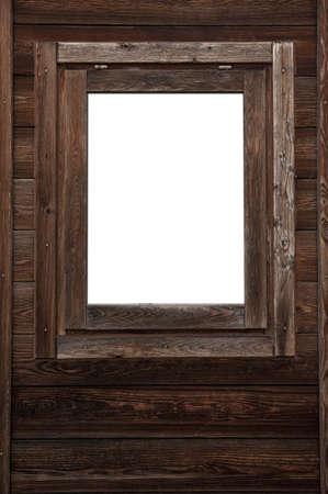 Wood window wall with square white copyspace Standard-Bild