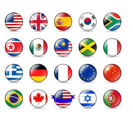 A collection of world badges with flags