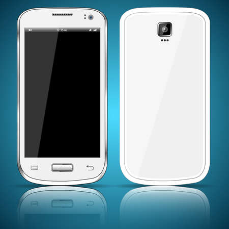 Front and back of a white smartphone