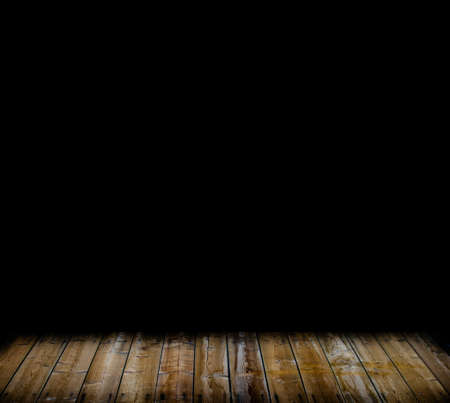 A black room with a wooden floor Stock Photo - 21352639