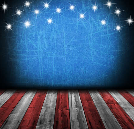 patriotic border: USA empty interior room with copyspace for your text or images Stock Photo