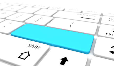 Keyboard with blue blank Enter button like copyspace Stock Photo - 21352641
