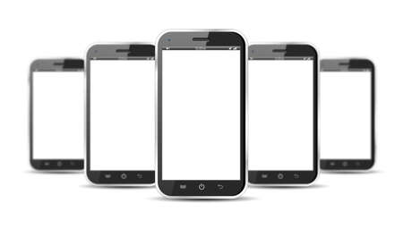 Set of five smartphones isolated on a white background Stock Photo - 21352642