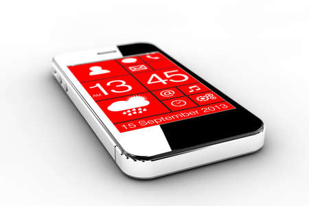 A smartphone with red screen isolated on a white background photo