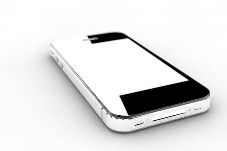 Realistic black smartphone with a white screen Stock Photo - 21352649
