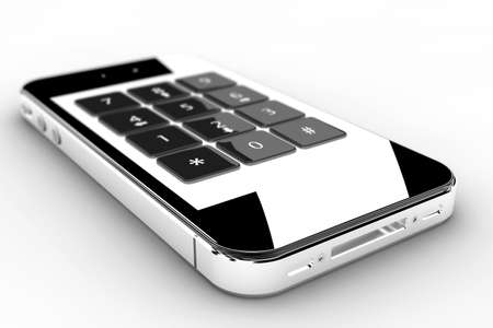 Realistic black smartphone with a keyboard on screen Stock Photo - 21352651