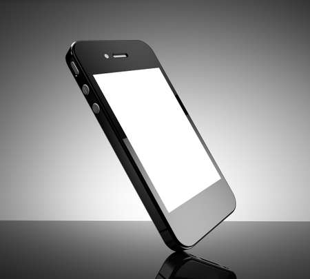 Realistic black smartphone with a white screen photo