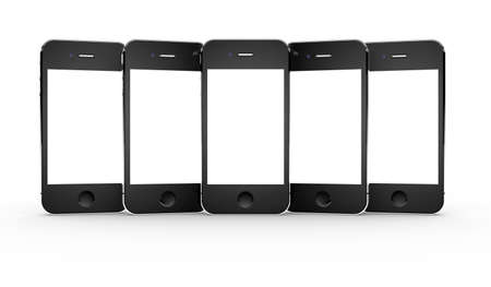 Set of five smartphones isolated on a white background photo