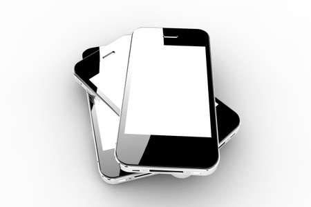 Realistic black smartphones with a white screen Stock Photo - 21352655