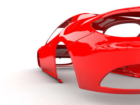 bodywork: Red back body car with no wheel, engine,interior