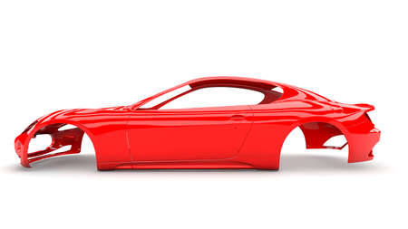no body: Red back body car with no wheel, engine,interior
