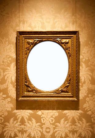 floreal: Golden vintage frame over a floreal wallpaper