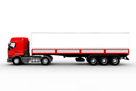 Red and white transport truck isolated on white
