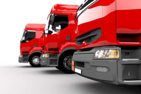 Three red transport trucks isolated on white photo