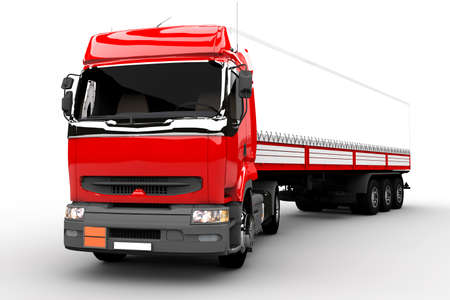 Red and white transport truck isolated on white photo