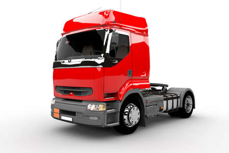 Red new transport truck isolated on white