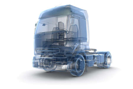 X raytransport truck isolated on white Banco de Imagens