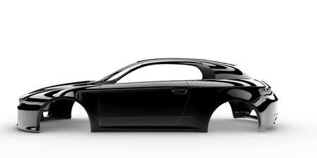 Voiture de corps noir sans roue, moteur, intérieur Banque d'images - 25258945