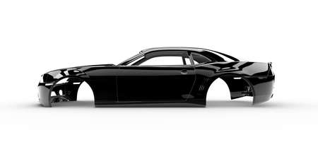 car body: Black body car with no wheel, engine,interior