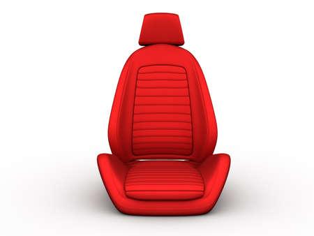 asiento coche: Asiento de coche rojo aislado en un fondo blanco Foto de archivo