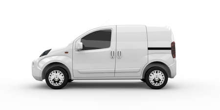 waggon: White commercial van isolated on a white background
