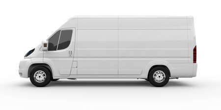 White commercial van isolated on a white background photo