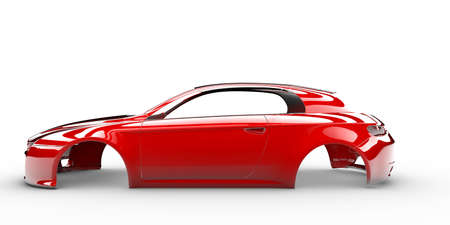 Red body car with no wheel, engine,interior