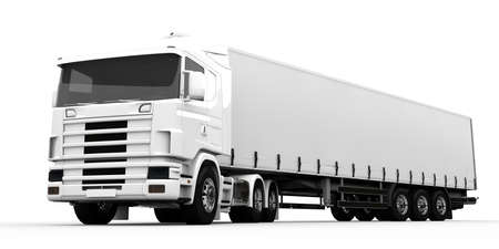 White transport truck isolated on a white background photo