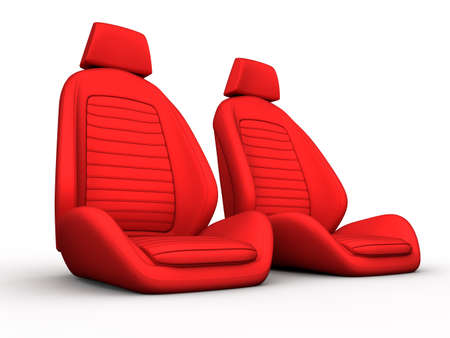 Two red car seat isolated on a white background Stock Photo