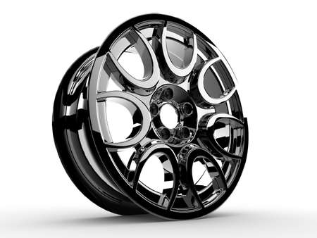 raytraced: Wheel of a sport car isolated on a white background