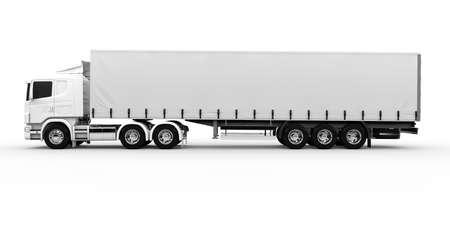 白い背景に分離された白い輸送トラック