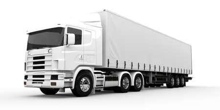 remolque: Blanco camión de transporte aislado en un fondo blanco Foto de archivo