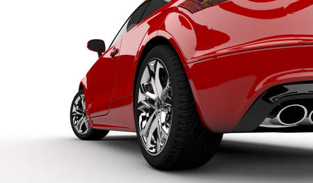 白地に赤い車の 3 D レンダリング 写真素材