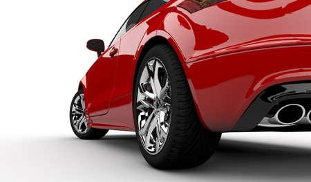 Representación 3D de un coche rojo sobre un fondo blanco Foto de archivo - 25525859