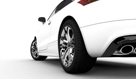 3D rendering of a white car on a clean background Archivio Fotografico