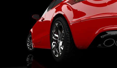 黒地に赤い車の 3 D レンダリング