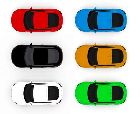 purple car: Collection of colorful cars isolated on a white background Stock Photo