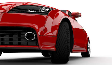 exotic car: 3D rendering of a red car on a white background