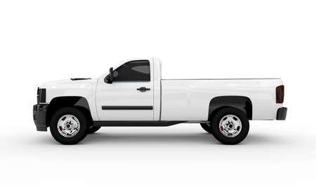 trailer: Representaci�n 3D de una camioneta blanca aislada