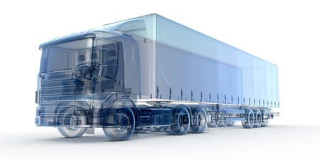 白で隔離される青い x 線輸送トラック