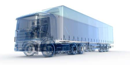 blue x-ray vrachtwagen geïsoleerd op wit Stockfoto