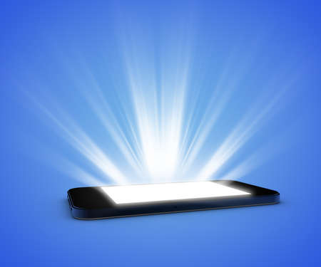 smartdigital: Smartphone with illuminated screen on a blue background Stock Photo