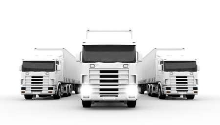 Camiones de transporte de color blanco sobre un fondo blanco Foto de archivo - 27560535